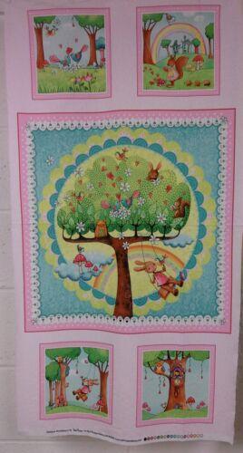 100/% cotton Rainbow Woodland panel fabric red rooster fabrics 25884