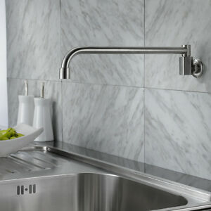 Swing arm wall mount kitchen pot filler faucet - Kitchen Faucet Brushed Nickel Stainless Steel Wall Mount