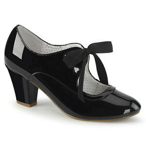 Pin-Up-Couture-WIGGLE-32-Women-039-s-Black-Patent-Cuban-Pointed-Heel-Mary-Jane-Pumps
