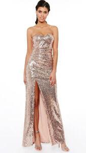 Goddiva-Strapless-Rose-Gold-Sequin-Split-Front-Dress-Long-Maxi-Evening-UK