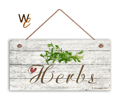 """Rustic Style Garden Sign Herbs Sign 5/"""" x 10/"""" Wood Herb Sign Kitchen"""