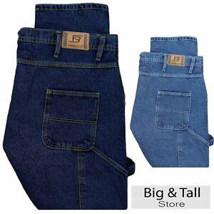 Big-Men-039-s-Carpenter-Denim-Jeans-Pants-Sizes-46-64-by-Full-Blue