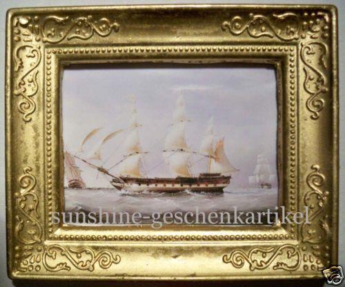 1:12 Casa delle Bambole Miniatura immagine con vela NAVE in viste con un quadro oro