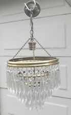 VINTAGE 1970s FRENCH STYLE ICICLE CRYSTAL 3 TIER CHANDELIER CEILING LIGHT