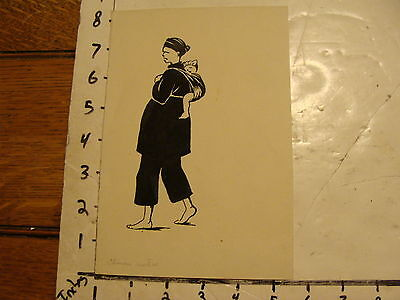 Cheap Price L.h Wwii Era Asian--ink--chinese Mother Bare Foot W/ Baby On Back Hart Art