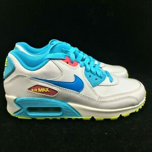 Nike-Air-Max-90-Running-Shoes-345017-123-White-Pink-Blue-Size-5-5Y-BRAND-NEW