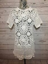 Topshop Womens White Knitted Crochet Dress Beach Cover Up Sz XS 100% Cotton