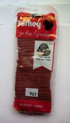 Precut Turkey rug making yarn 100/% Wool rusty red//brown160 pieces col code 957