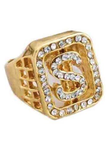 FAKE Oro Diamante Simbolo del dollaro Anello Protettore Big Daddy Gangster Accessorio Fancydress