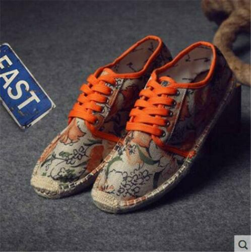 Mens Summer Canvas Breathable Lace Up Comfort Casual Printing Flat Shoes Muk15