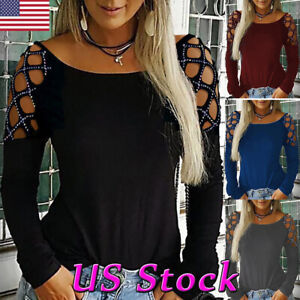 Women-Lady-Hollow-Long-Sleeve-Loose-T-Shirt-Ladies-Summer-Casual-Blouse-Tops-Tee