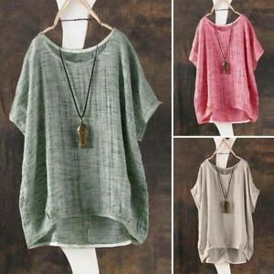 Womens-Tops-Oversized-Casual-Linen-Tee-Solid-V-Neck-Ladies-Casual