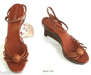 SERGIO ROSSI SANDALS SOLE COMPENSATED BROWN LEATHER FAUVE 36 VERY GOOD CONDITION