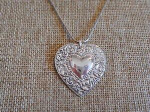 Necklace Sterling Silver Heart Pendant Vintage Art Nouveau design with Flowers