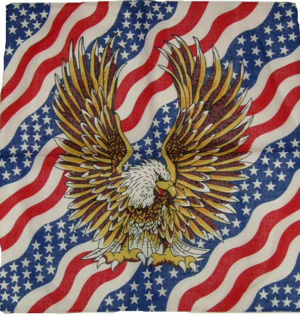 NEW (2) American Flag with Eagle Bandanas 21