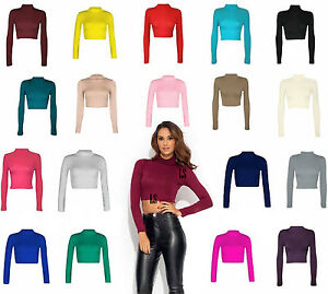 New-Ladies-Womens-Plain-Turtle-Polo-Neck-Long-Sleeve-Crop-Top-Short-Stretch-8-14