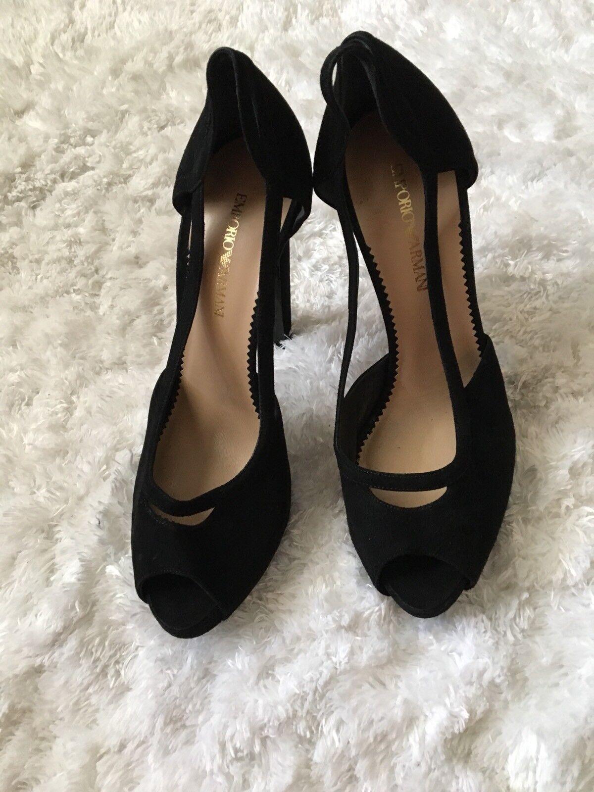 Emporio Armani Heels Open Toe Suede  Leather Black  Sz 39.5 US 9