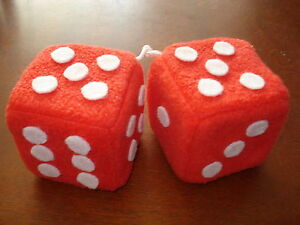 Fuzzy Red and White Dots Car Dice--3 Inch