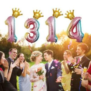 Crown-Number-Digital-birthday-foil-Helium-balloons-gradient-Wedding-Party-Deco