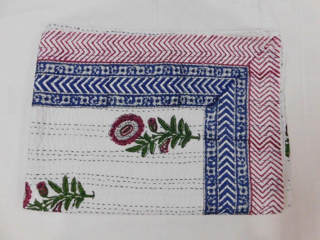 Weiß Floral Indian Queen Größe Kantha Quilt Bedspread Blanket Bedding Throw