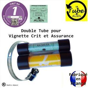 PORTE-SUPPORT-VIGNETTE-MOTO-ASSURANCE-CRIT-AIR-DOUBLE-TUBE-FIXATION-FOURCHE