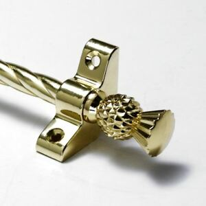 "3/8"" X 36"" 13 X Polished Brass Stair Rods Thistle Finial New Varieties Are Introduced One After Another Candy Twist"