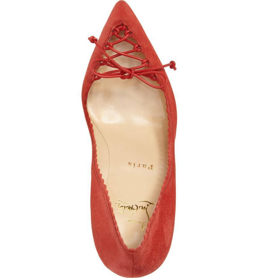 NEW Christian Louboutin Louboutin Louboutin Scalop Lace Toe Pointy Toe Pump shoes 85mm Red Suede 38 14bb73