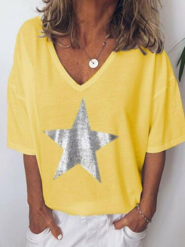 Plus Size Women V-Neck Star Print T-Shirt Ladies Summer Casual Baggy Tops Blouse