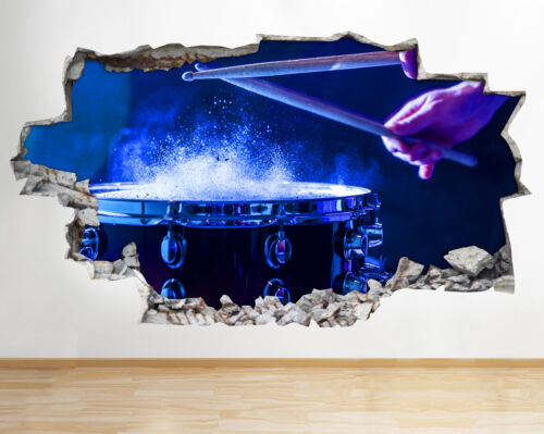 Wall Stickers Drum Kit Music Instrument Smashed Decal 3D Art Vinyl Room AA937
