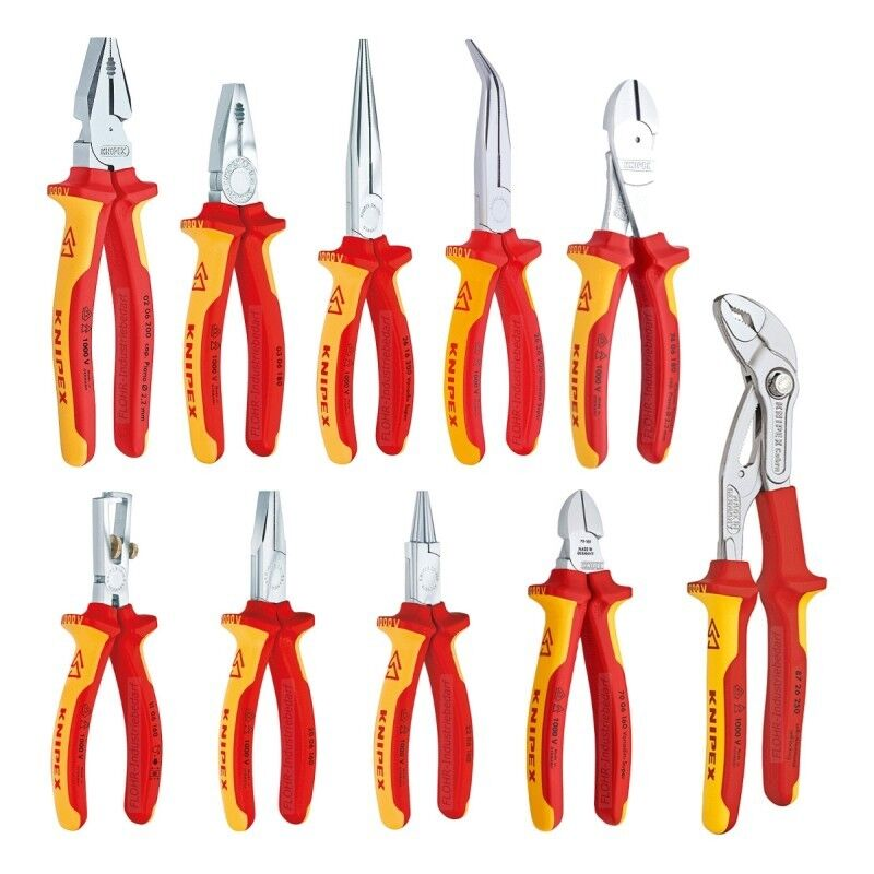 KNIPEX Elektro-Kraft-Satz - 10-tlg. VDE Zangen-Set - inkl. WaPu-Zange Cobra