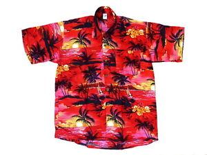 Camicia-Hawaiana-Hawaii-Hemd-Hawai-Rosso-Palme-Nere