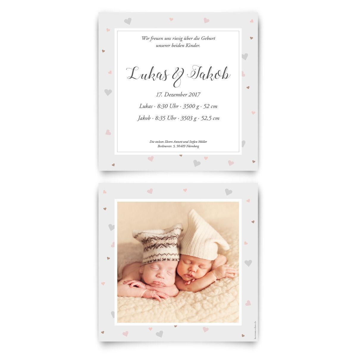 Geburtskarten - Zwillinge mit Herzrahmen - Geburt Babykarten Zwillingskarten | Viele Sorten  | Speichern
