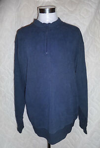 ORVIS Quarter Zip Signature Size L Large Heavy Duty Cotton Sweatshirt Mens Blue