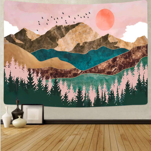 Mountain Tapestry Forest Sunset Tapestry Nature Landscape Wall Hanging for Room