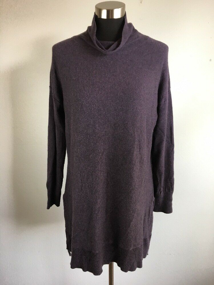 Soft Surroundings Tunic Sweater M Purple The Metro Hi Lo Cotton Wool Cashmere