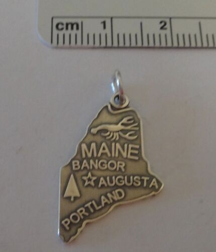 Sterling Silver 25x15mm la Pine Tree STATE MAINE State avec homard charme
