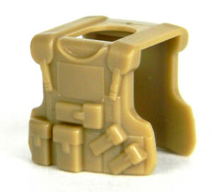 Dark Tan B20 (W20) Tactical Army Vest compatible with toy brick minifigures SWAT