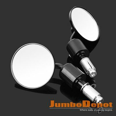 "7/8"" Black Premium Chrome Motorcycle Bar End Rear View Mirrors New 2P for Ducati"