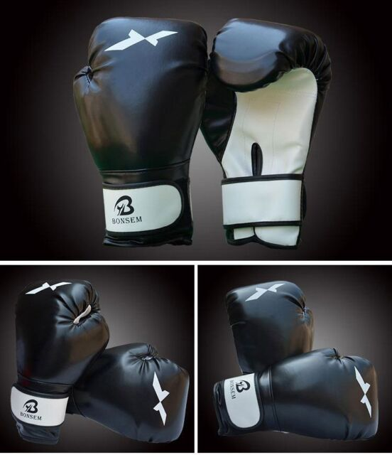 Professional Boxing Gloves Fight Punch Bag MMA Muay thai Grappling Black Compete