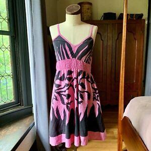I.G. SPORT Pink Black Boho Beach TROPICAL Dress INDIA Cotton S/M