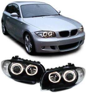 Projektor-H7-H7-Scheinwerfer-schwarz-ANGEL-Eyes-Ringen-fuer-BMW-E81-E82-E87-E88