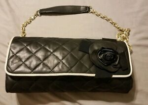 Black And White Quilted Leather Handbag