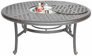 "Nassau Cast Aluminum Patio Furniture Fire Pit  52"" Ice Tea Insert Round Table"