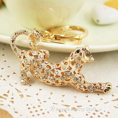 Dazzling Domineering Leopard Dazzling Crystal Purse Bag Keyring KeyChain Gift