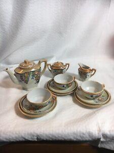 Vintage-Japan-Floral-Lusterware-Miniature-Tea-Set-14-Pieces-3-Place-Settings