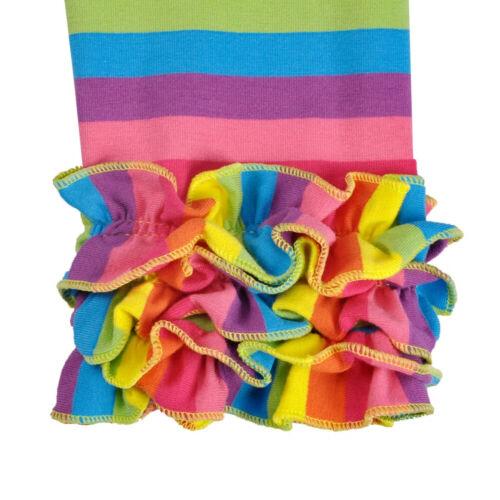 NEW Boutique Girls Rainbow Striped Ruffle Icing Leggings