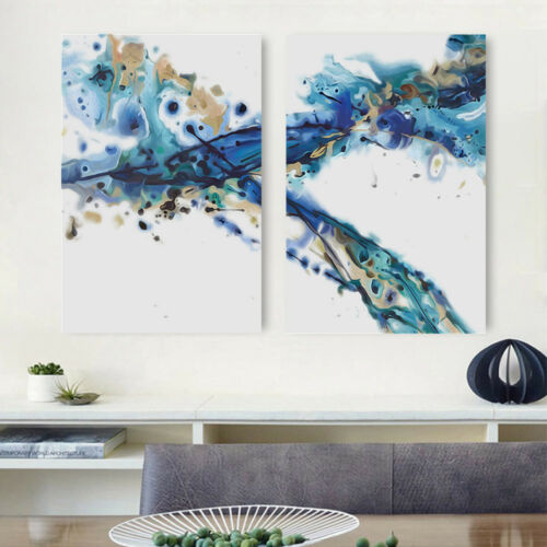 Blue adn gold wave abstract picture art high quality Framed canvas