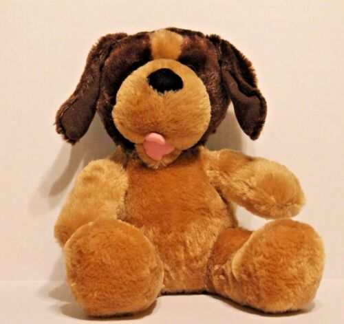 "BuildABear TwoTone Brown & Tan Plush Puppy Dog 14"" Stuffed Animal with Sound"