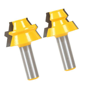 2Pcs 1//2 inch Shank Lock Miter Glue Joint Router Bit 22.5 Degree Woodwork