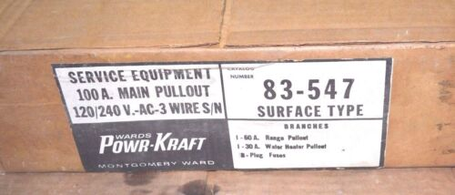 Details about  /NEW WARDS POWR-KRAFT 100A MAIN PULL-OUT Fuse Panel 83-547 120//240V Surface NIB